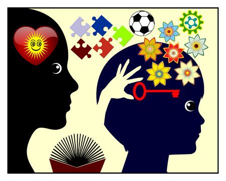 Inspiratie in Early Childhood. Concept teken van de moeder die is inspirerend en het bevorderen van haar kind in de vroege kindertijd ontwikkeling