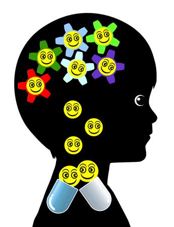 the psyche: Niño con Adicción Píldora. Kid dependiendo de la medicación regular debido a un trastorno mental Foto de archivo