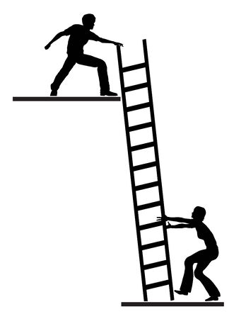 career coach: Job Mentoring. Concept sign of career or life coach assisting person to climb the ladder of success Stock Photo