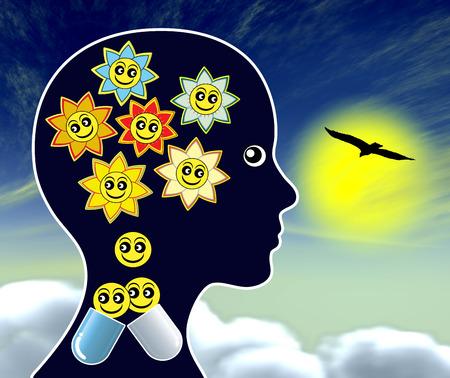 psychotropic medication: Psychotropic Drugs. Psychiatric medicines impact mood and behavior in the brain of female patient Stock Photo