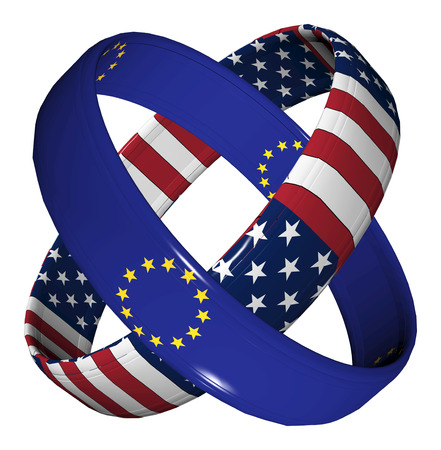 business partnership: Trade Agreement USA and EU. Symbol for the Transatlantic Trade and Investment Partnership TTIP