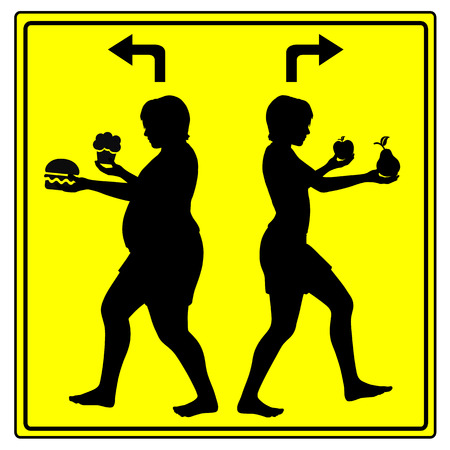 either: Concept sign of either eating health food or junk food, stay slim or get fat