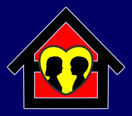 secure home: Secure Home for Kids Concept sign for a safe family home with loving care Stock Photo