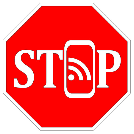 forbade: Stop using Smartphones. Concept sign that the use of mobile phone is not allowed