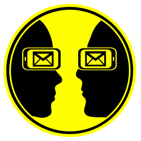 cell phone addiction: Email Addiction. Concept sign and symbol for a couple who is addicted to cell phone and messages leading to mental disorder