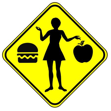 정크 푸드: 정크 푸드 대 건강. 중 하나를 선택하는 건강 식품이나 정크 푸드의 개념 기호