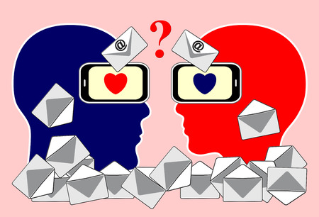 email communication: Email Communication Problem. Concept sign of couple finding it difficult to communicate by  messages via smartphones