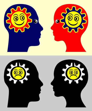 mimicry: Emotional Contagion. Psychological concept sign showing that people take on the moods and attitudes of those around them.