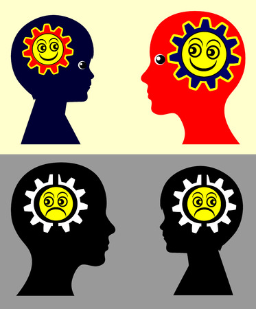 contagion: Kids and Emotional Contagion. Psychological concept sign showing that children take on the moods and attitudes of the parents and vice versa
