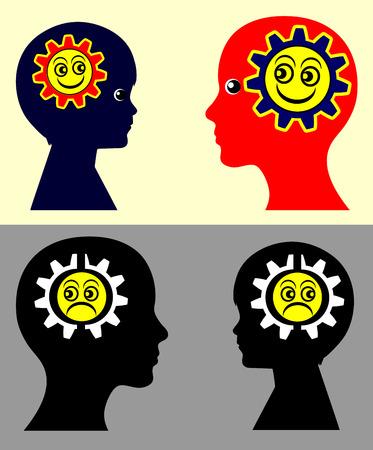 psicologia infantil: Los niños y el contagio emocional. Signo concepto psicológico que muestra que los niños adquieren los estados de ánimo y las actitudes de los padres y viceversa