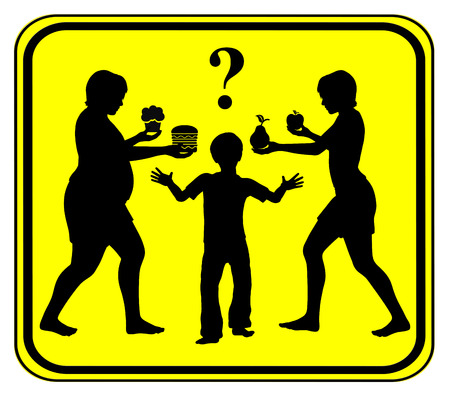 eating habits: Healthy Food for Kids. Concept sign to improve eating habits, fruits instead of junk food in childhood Stock Photo
