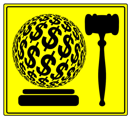monetary: Monetary Penalty. Concept sign for the financial punishment in court or sue for damages and compensation