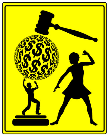 retribution: Retaliation in Court. Concept sign of a woman who is demanding financial retribution for injustice in court