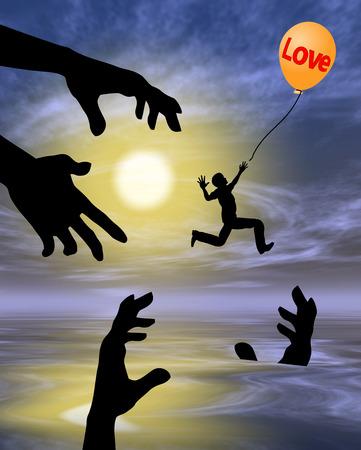 risky love: Amore Risky. Illustrazione divertente per il proverbio che l'amore � cieco con molte insidie