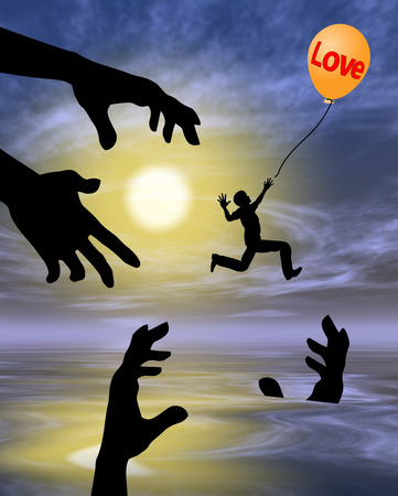 Risky Love. Humorous illustration for the proverb that love is blind with many pitfalls