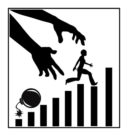 competitividad: Subiendo la escalera de empleo. Muestra del concepto de una mujer que lucha por la competencia eliminando rivales Foto de archivo