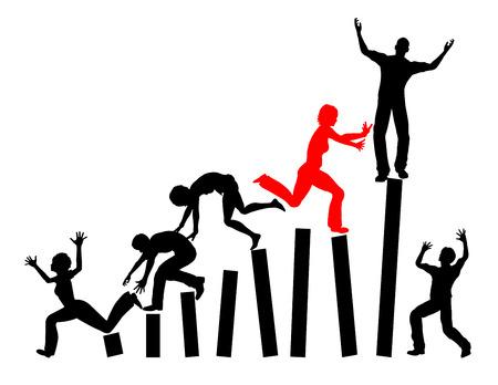 competitividad: Competencia diario. Subiendo la escalera de trabajo es una pelea de perros especialmente para las mujeres