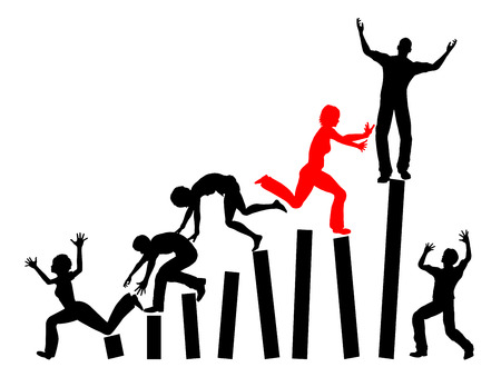 fierce competition: Daily Competition. Climbing the job ladder is a dogfight especially for women Stock Photo