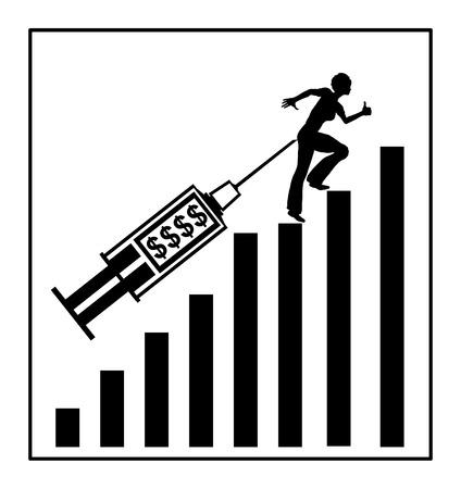 conversaciones: El dinero como motivador. Mujer que sube la escalera de trabajo con aumento en la paga o el dinero habla concepto Foto de archivo