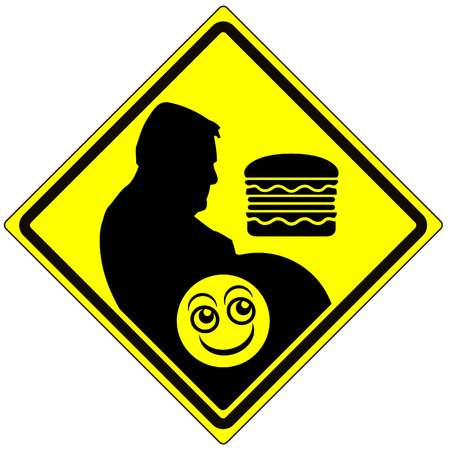 eating habits: Watch out for Junk Food. Humorous concept sign to avoid junk food and change eating habits
