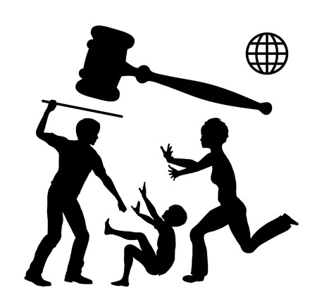 mother in law: Ban Domestic Violence. Appeal to stop any form of corporal punishment worldwide by law Stock Photo