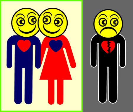 celos: Los celos. Signo concepto humorístico de persona que es loco de celos de pareja