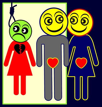 Adulterer. Humorous concept sign of husband cheating his wife, while she wants to kill herself for love