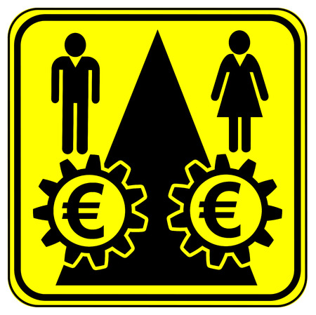 pay for: Equal Work Equal Pay in Euro. Concept sign for equal pay for equal work especially for women Stock Photo