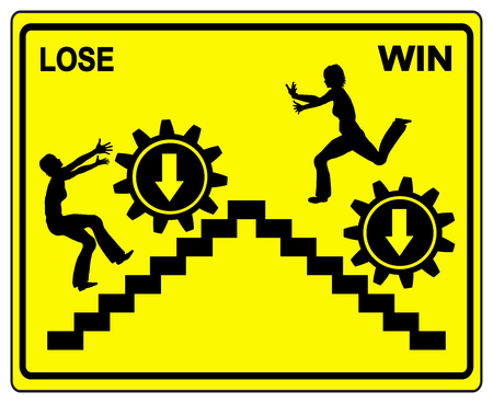 pessimist: Win or Lose. Concept sign to demonstrate the difference between loser and winner