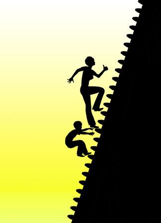 AlleinerzieherIn: Konflikt Alleinerzieherin. Konzept Zeichen daf�r, wie die berufliche Laufbahn mit Elternschaft widerstreitenden
