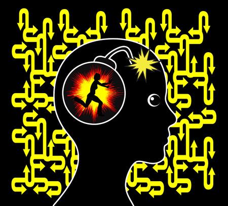 psychiatrique: Trouble panique. signe Concept de patiente avec ventilation mentale ou d'un trouble psychiatrique Banque d'images
