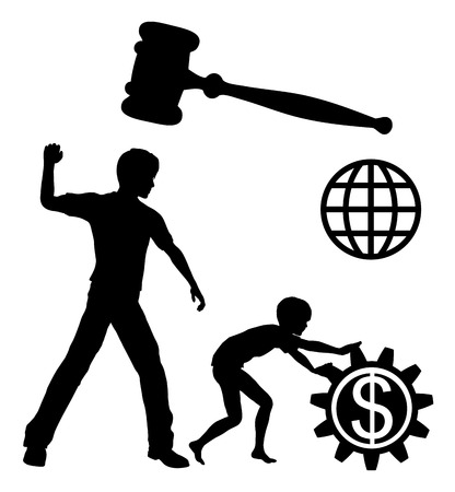symbol victim: Ban Child Labor. Child laborers being abused by business and industries in order to yield high profits must be prohibited by law worldwide