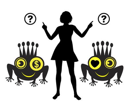 the frog prince: Amore o denaro. Umorismo concetto di segno sulla scelta tra un amore con il cuore o il denaro, derivata dalla famosa fiaba del principe ranocchio
