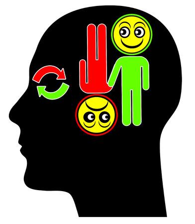 the psyche: Concepto Trastorno Bipolar. Metáfora de trastorno mental con periodos de humor elevado y períodos de profunda depresión