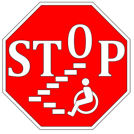 barrier free: Stop Disability Discrimination. Concept sign to guarantee accessibility and barrier free environment for people with impairments