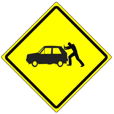 filling out: Watch out for Gas. Humorous road sign with man pushing his car because of empty gas tank as a reminder to watch the fuel gauge Stock Photo