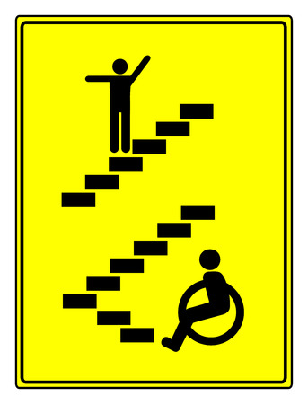 Disability Discrimination. Concept sign to vote for accessibility and barrier free environment for people with impairments photo