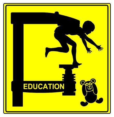 psicologia infantil: Concepto de educación. Signo chistoso para el sistema educativo tradicional con restricciones estrictas y la obediencia Foto de archivo