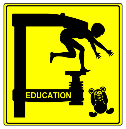 restrictions: Education Concept. Humorous sign for the traditional education system with strict restrictions and obedience Stock Photo