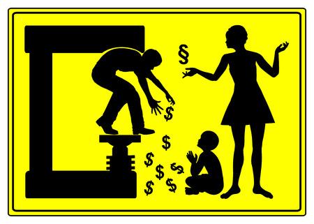 divorcio: El divorcio y pensión alimenticia. Señal de advertencia chistoso para los hombres que muestran que el divorcio puede ser muy costoso Foto de archivo
