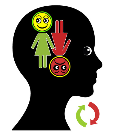 menopause: Woman with Mood Swings. Alternation of the emotional state between euphoria and depression as part of bipolar disorder or menopause Stock Photo