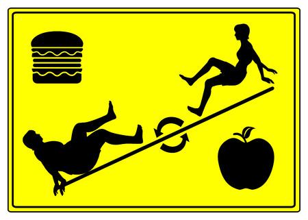 Yo Yo op dieet. Humoristische begrip teken van gewicht fietsen, wat betekent gewichtsverlies, gevolgd door gewichtstoename Stockfoto