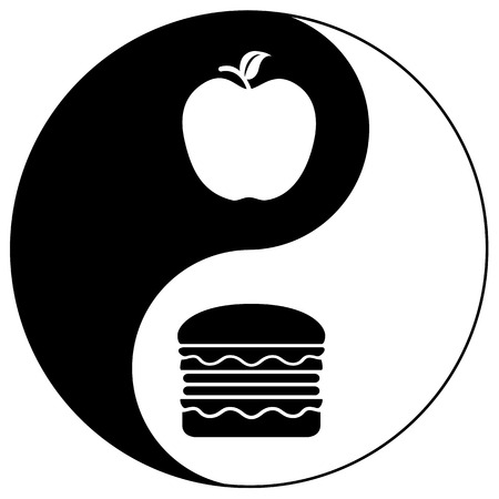 alimentacion balanceada: Dieta Equilibrada. Signo concepto humor�stico sobre la necesidad de encontrar el equilibrio adecuado de la comida sana y la comida chatarra Foto de archivo