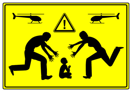 Helicopter Parents. Father and mother paying extremely close attention to their child causing problems in child development