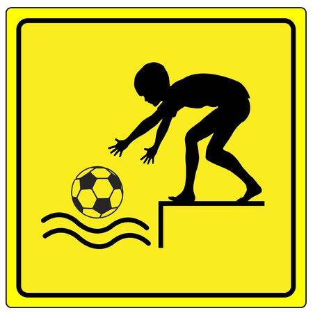 life threatening: Caution No Ball Games. Warning sign not to play ball by the water like near the riverbank or lakeside