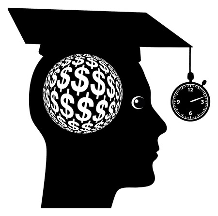 make belief: Riches after College. Student expecting to make a fast buck in a short time after graduating from college or university
