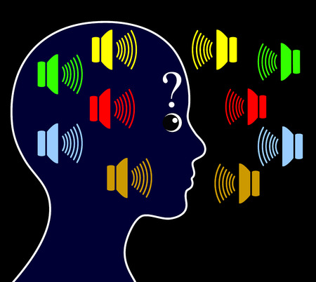 voices: Schizophrenia with Hearing Voices. Schizophrenic person may hear voices other people do not hear and get paranoid