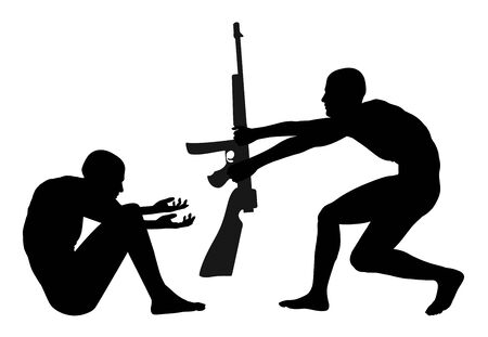 penury: Poverty is pulling the Trigger. Warning sign that poorness and forlornness are the fuel of violent conflicts Stock Photo