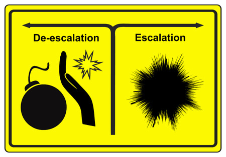conflict theory: Escalation and Deescalation. Concept sign to explain the theory of solving conflicts either violent or peaceful