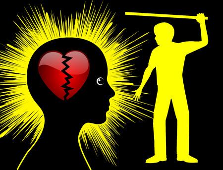 violencia intrafamiliar: La violencia doméstica se está rompiendo corazones. El marido está latiendo su esposa a perder su confianza y amor Foto de archivo